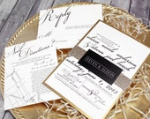 "Black, White & Gold Wedding Invitation Set – Classic  Modern Wedding Invitations – Custom Elegant Wedding Invite – ""Classic Script"" Sample"
