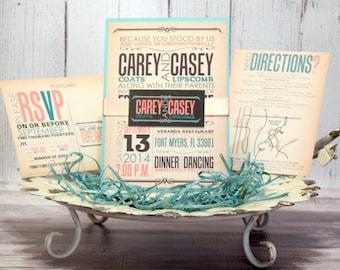 "Rustic Wedding Invitation Set – Vintage Wedding Invitations – Modern Invites – Custom Teal and Coral Invite – ""Reminiscent Rustic"" Deposit"