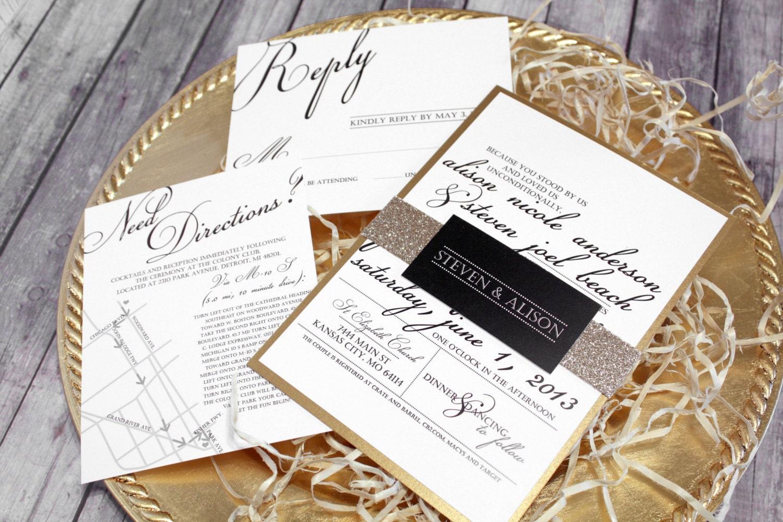 White Wedding Invitations: Black White & Gold Wedding Invitation Set Classic Modern