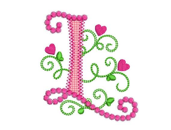Cute Letter L Alphabet for Lil Princess Hearts Applique