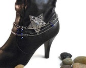 Boot Bracelet, Silver Star Pendant on 3 Chains, Royal Blue Swarovski Crystals, Ladies Boot Jewelry