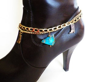 Turquoise Stone Western Boot Bracelet 2 Gold Chains with Adjustable Clasp. Accessorize Western.  Free US Shipping on All Jewelry.