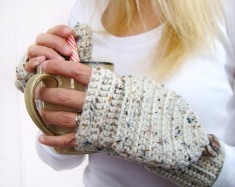 Convertible Fingerless Mittens, Aran Fleck Texting Mittens, Crochet Womens Flip Top Mittens, Winter Fashion, Cycling Mittens, Stylish Gloves