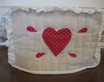 2 Slice Toaster Cover Red Heart  Design