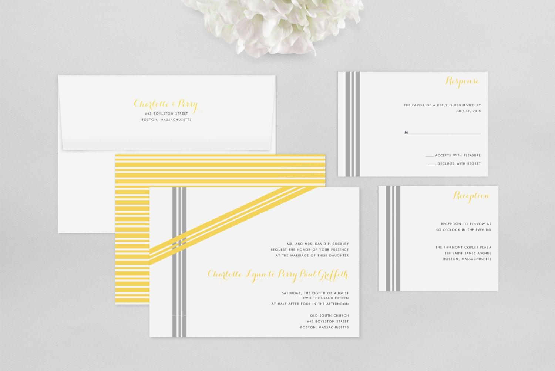 Modern wedding invitation sample asymmetrical ribbons for Modern wedding invitations free samples