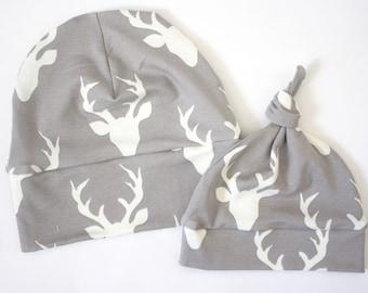 Grey Deer Baby Top Knot Hat, Hunting Hat by JuteBaby