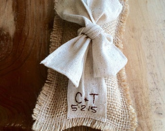 Personalized Burlap Ring Bearer Pillow With Natural Cotton Ribbon & Bow- Rectangle Shape- 2 Sizes- Wedding Ceremony-Rustic/Shabby Chic