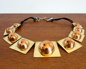 Vintage Modernist Maya Mexico Brass and Copper Necklace