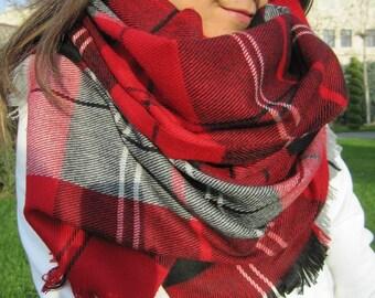 Tartan Plaid blanket scarf,red black gray -Flannel long blanket shawl scarf,woman - man fashion 2016 scarves- women's scarves- men's scarves