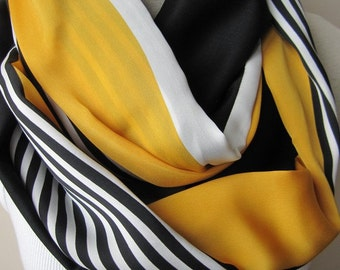 Scarf woman fashion-Yellow black white stripe silky satin infinity scarf- 2016 spring fashion- women accessories- gifts for her scarves2012