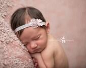 Baby Headband, Newborn Headband, Rhinestone Headband- Grey and Baby Pink Rhinestone Headband