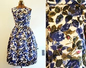 RESERVED for Jennifer Fellows- 1950's Blue Rose Dress / Satin Party Dress/ Small