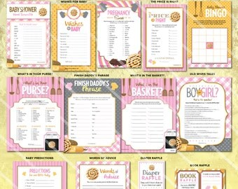 Bun in the Oven Baby Shower Games | Baby Girl Shower Games | Printable | Pink | ONE GAME You Choose | DIY Decorations & Invitation Available