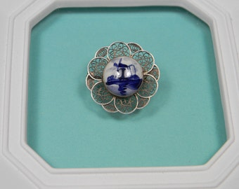 Windmill Ceramic Brooch or Pin, Blue and White Ornate Frame, Petite