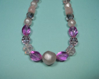 Pink Feminine Classic Necklace, Laguna, Spring Colors, Faux Pearls