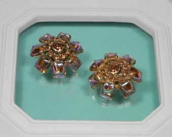 Bold Statement Pink Clip On Earrings, Vintage
