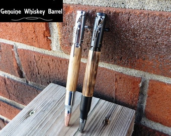 Wood Pen Set Handmade Whiskey Barrel and Bourbon Barrel Bolt Action Gun Pens