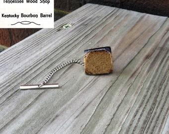 Wood Tie Tack Kentucky Bourbon Barrel Wood Handmade