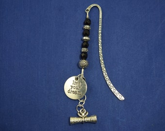 Beaded Silver Tone Graduation Bookmark with Diploma and Live Your Dream Charm....Graduation Gift