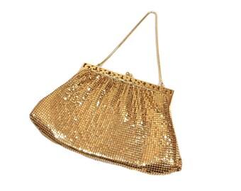 vintage 1940s WHITING & DAVIS mesh purse / gold / metallic metal / chain strap handbag / women's vintage purse
