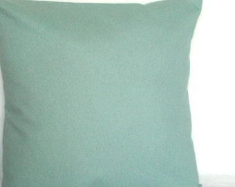 Solid Spa Blue Throw Pillow Cover, Optional Zipper - 18x18 or 20x20 inch Decorative Cushion Cover - Aqua Blue Solid, More Sizes Available