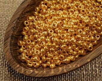 20g 8/0 seed beads Czech seed beads Czech rocailles Yellow Gold seed beads 8/0 seed beads 46 Opaque seed beads