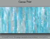 Canvas wall art, Abstract painting - Giclee art print, Teal blue decor, Master bedroom, Office, Aqua Turquoise Gray Tan, Large Long Wide