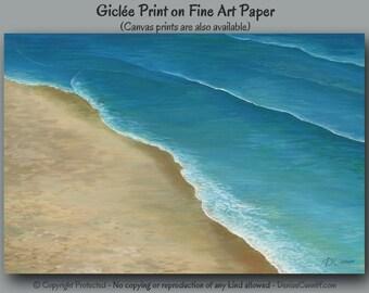 Coastal beach decor, Artwork, Ocean wall art, Turquoise Teal blue tan aqua, Home decor, Office, Bedroom, Wall decor, Seascape Seashore Waves