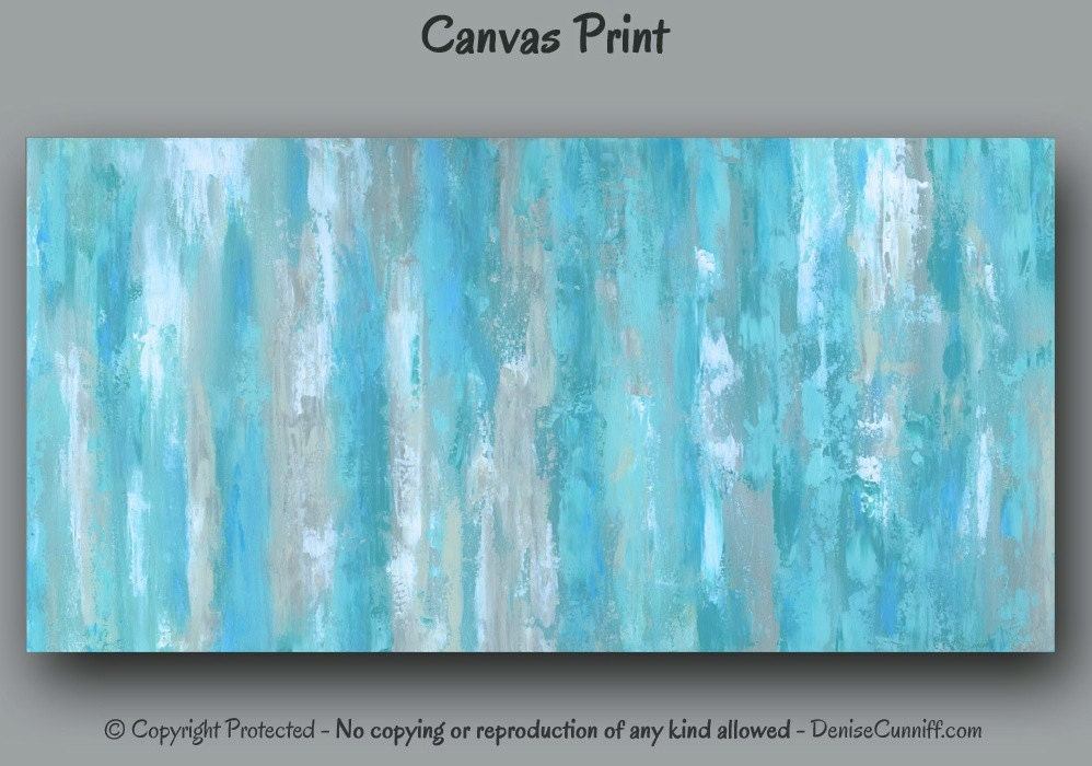 Canvas Wall Art Abstract Painting Giclee Art Print Teal