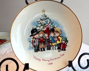 Vintage Collectible Plate Moppets Happy Merry Christmas Tree 1980 Made in Japan