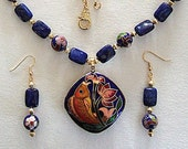 Blue & Coral Pink Flower Fish Pendant Necklace with Drop Earrings Vintage Chinese Cloisonne Blue Lapis Stone