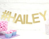Gold or Silver Glitter # Name Garland