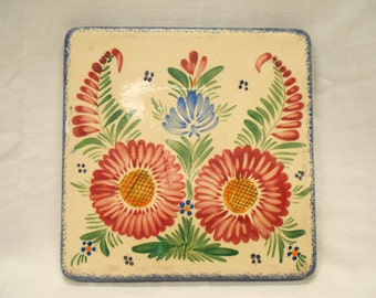 Vintage French HB Quimper Hand Painted Floral Faience Trivet (B045)
