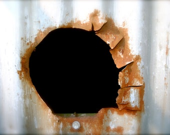 Through the Hole, Abstract Photo, 11x14 Print, Old Abandoned Building, Unique Home Decor, Gift