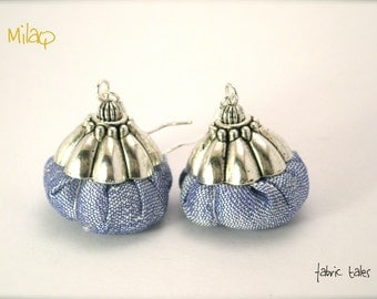 Fabric earrings - silver and fabric jewels by MilaQ