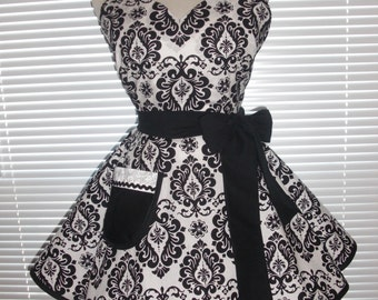 Sweetheart Retro Apron Black and White Damask Circular Skirt