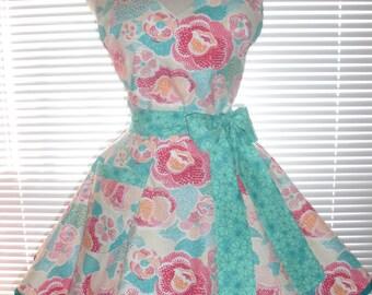 Fifties Style Retro Apron Aqua Blue Coral and Teal Print Circular Flirty Skirt