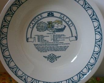 Caesar Salad Bowl w Recipe Made in USA Pottery Royal China Sebring Ohio Large Bowl Vintage