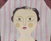 Portrait of a Lady - Naive Art - Recycled Art - Original Art - Original Collage - Recycled - Pink and Green - Theatre - Eighteenth Century