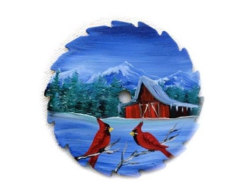 Hand Painted Miniature Round Saw Magnets Cardinals Red Barn