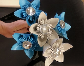 Blue and Silver Shimmer Flowers with Bling / Diamond Embellishments - Paper Flower Bouquet w/Green Wire Stems