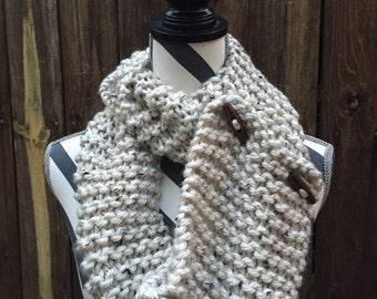 "Dual Style ""Specks"" Hand Knit Scarf"