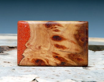 SALE:  Exotic Wood and Red Coral Inlaid Belt Buckle - Handmade
