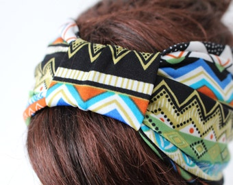 Colorful Tribal Knotted Turban Knot Headband Cinched Headband Turban Headband Boho Head Wrap Turband Hair Accessories Womens Gift for Her