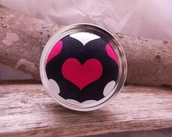 Red heart Pin cushion Jar