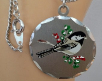 Pewter Bird Necklace / Birder Jewelry