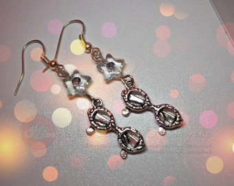 Glasses Earrings with star crystal
