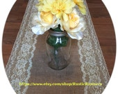 Rustic Charm Wedding Burlap and Lace Table Runner Yellow Lace for Rustic wedding, Shabby Chic table runner, Bridal shower table runner