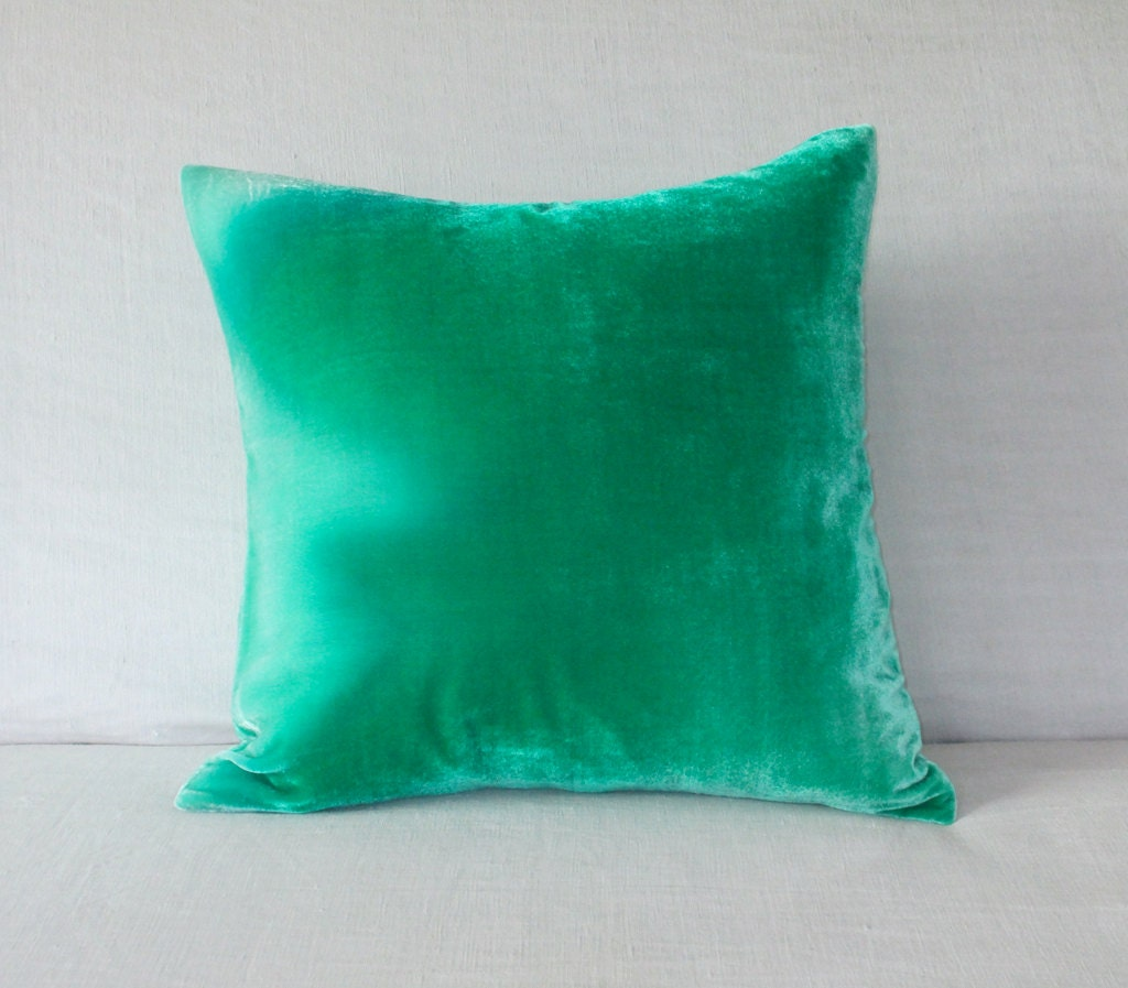 Mint/Jade green velvet pillow cushion cover hand painted