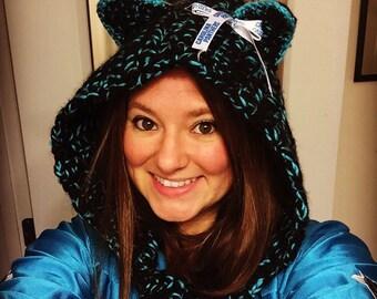 Hooded Carolina Panthers inspired scarf